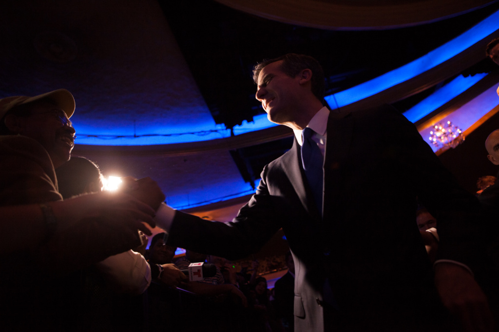 Eric Garcetti shakes hands with supporters on May 21st, 2013.