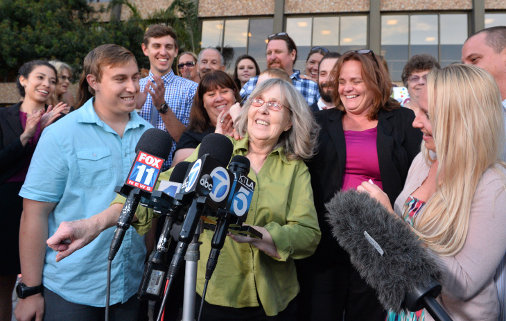 Susan Mellen is shown outside Torrance Superior Court in this file photo taken Friday Oct. 10, 2014. Mellen was exonerated and released from prison for a murder she didn't commit 17 years ago. On Friday, November 21, 2014, a judge declared her factually innocent, clearing the way for her to claim about $600,000 from the state in compensation.