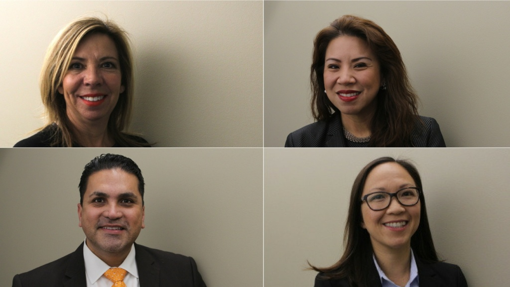 In November, voters in Los Angeles elected four new judges to the L.A. Superior Court. They will serve 6-year-terms and be sworn in January 2, 2017. Clockwise from top left: Debra Archuleta, Susan Jung Townsend, Kim Nguyen and Efrain Matthew Aceves.