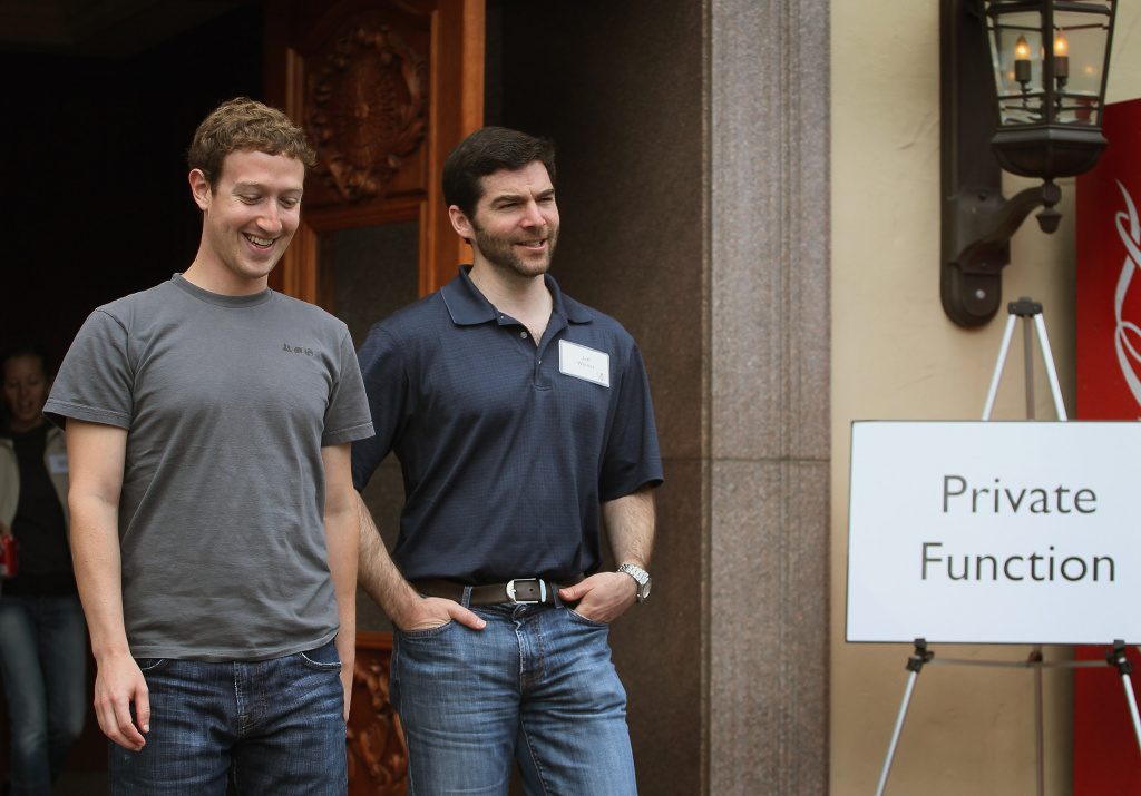 Facebook CEO Mark Zuckerberg (L) chats with LinkedIn CEO Jeff Weiner, at the Allen & Company Sun Valley Conference on July 7, 2011 in Sun Valley, Idaho. The conference has been hosted annually by the investment firm Allen & Company each July since 1983. The conference is typically attended by many of the world's most powerful media executives.