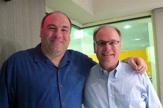 Actor James Gandolfini and Larry Mantle in KPCC's Studio A on May 12, 2011.