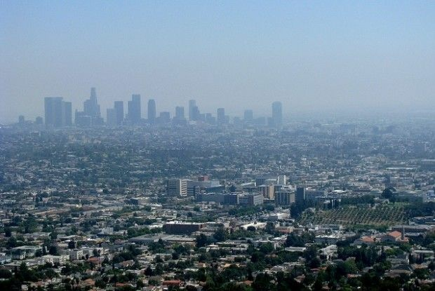 The skyline as seen from the Griffith Observatory, August 2010