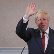 Former London Mayor and Conservative MP Boris Johnson waves as he speaks ruling himself out of becoming the next Conservative party leader at St Ermin's Hotel in London today.