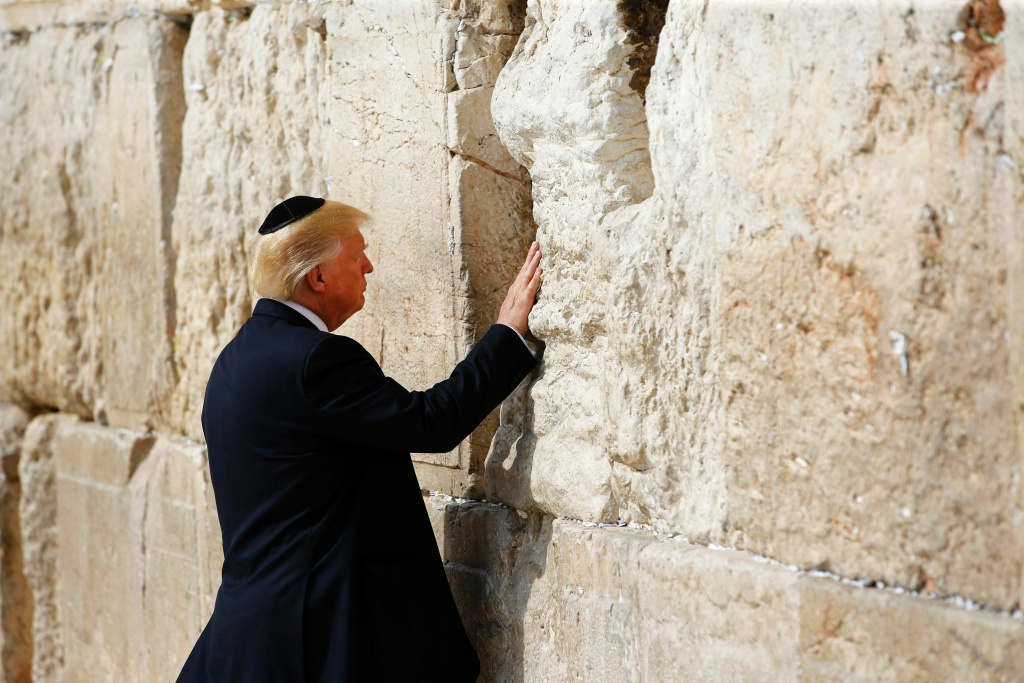 US President Donald Trump visits the Western Wall, the holiest site where Jews can pray, in Jerusalems Old City on May 22, 2017.