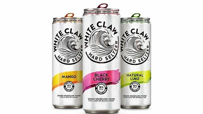 Three cans of White Claw Spiked Sparkling Water