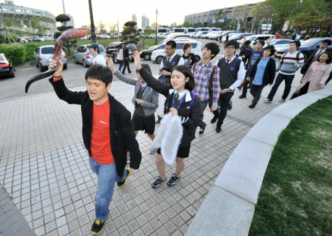 South Korean Christian activists hold a