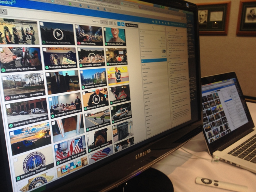 This computer screen shows several videos and photos uploaded to LEEDIR (Large Emergency Event Digital Information Repository) on April 10, 2014. It is a program that allows the public to upload content to law enforcement after a major disaster or emergency.