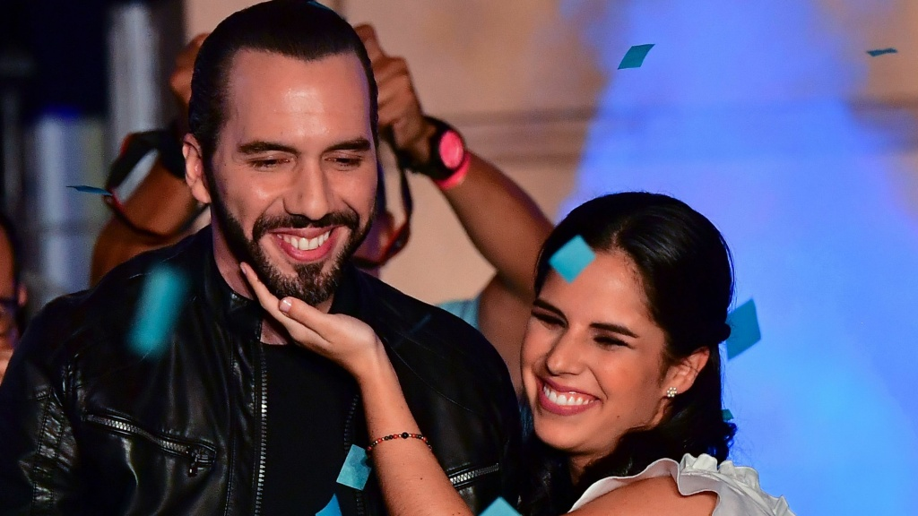 Nayib Bukele, seen celebrating with his wife, Gabriela Rodríguez de Bukele, was declared the winner of El Salvador's presidential elections Sunday night.