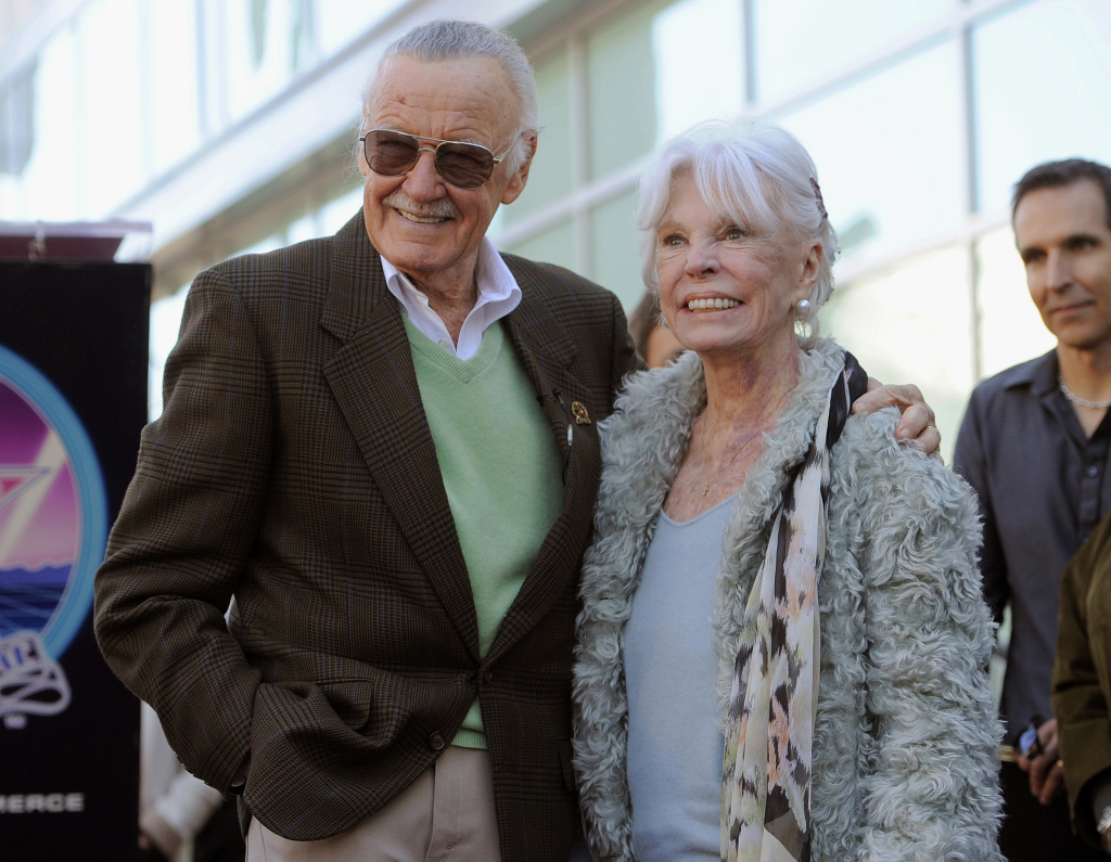 In this Jan. 4, 2011, file photo, comic book creator Stan Lee, left, poses with his wife Joan after he received a star on the Hollywood Walk of Fame in Los Angeles. Lee and his family announced that Joan Lee died peacefully on Thursday, July 6, 2017, and asked for privacy. Stan and Joan Lee had been married for 69 years, and the famed comics creator had credited his wife with being supportive during an early part of his career when he was struggling to create superheroes he and audiences would care about.