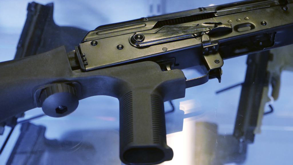 The Trump administration is moving to ban bump stocks, like the one attached to the rifle above, which allow semiautomatic weapons to fire rapidly.