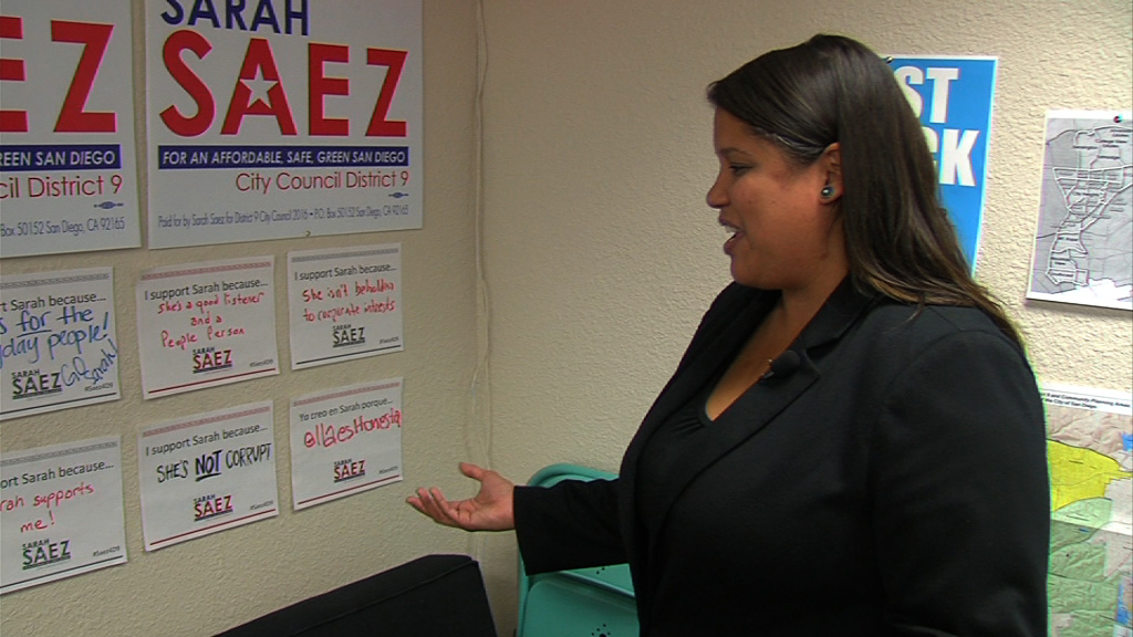San Diego City Council District 9 candidate Sarah Saez shows handwritten notes from her supporters in her campaign office, March 18, 2016.