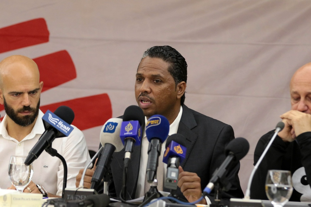 File: Ghazali Babiker, the head of French NGO Doctors Without Borders in Yemen, speaks during a press conference on the humanitarian and health situation in conflict-hit Yemen in 2015.