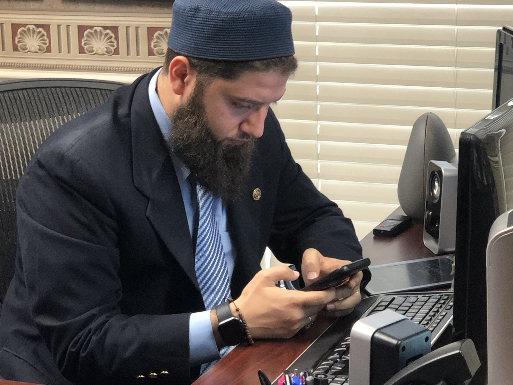 Hassan Shibly, lawyer for 24-year-old Hoda Muthana, poses in his office in Tampa, Florida, on February 20, 2019. - The United States said Wednesday it would refuse to take back Muthana, a US-born Islamic State propagandist, who wants to return from Syria, saying that she is no longer a citizen