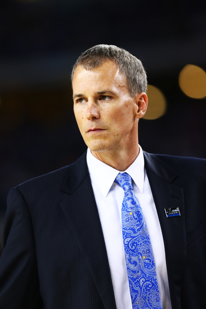 Head coach Andy Enfield of the Florida Gulf Coast Eagles reacts against the Florida Gators during the South Regional Semifinal round of the 2013 NCAA Men's Basketball Tournament at Dallas Cowboys Stadium on March 29, 2013 in Arlington, Texas.