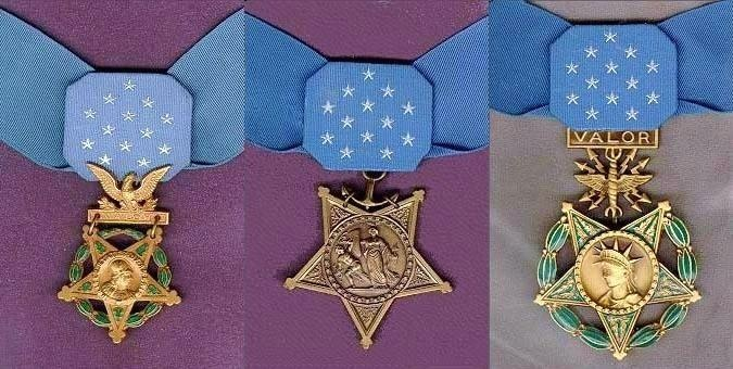 From left to right, the Army, Navy/Marine Corps/Coast Guard, and Air Force medals.