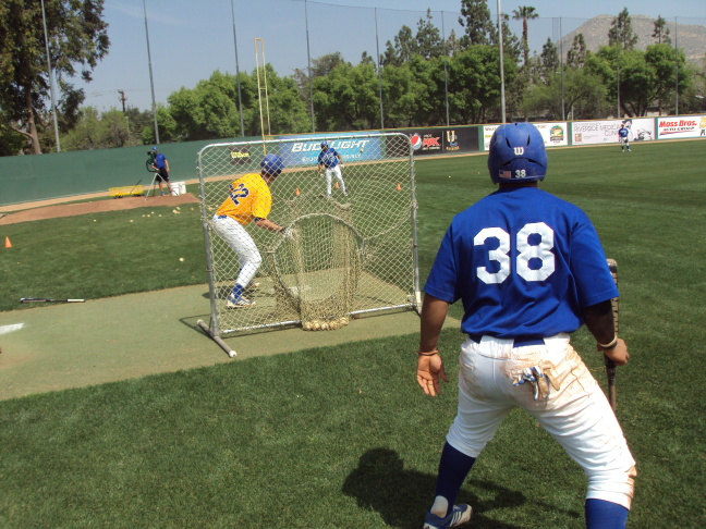 UC Riverside center fielder Devyn Bolasky during batting practice. Bolasky trained with Ultimeyes during the 2013 season.