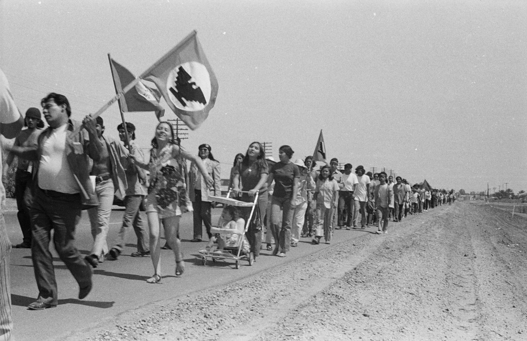 Young families join La Marcha de la Reconquista along a dusty highway through the farm land of Southern California. 1971.