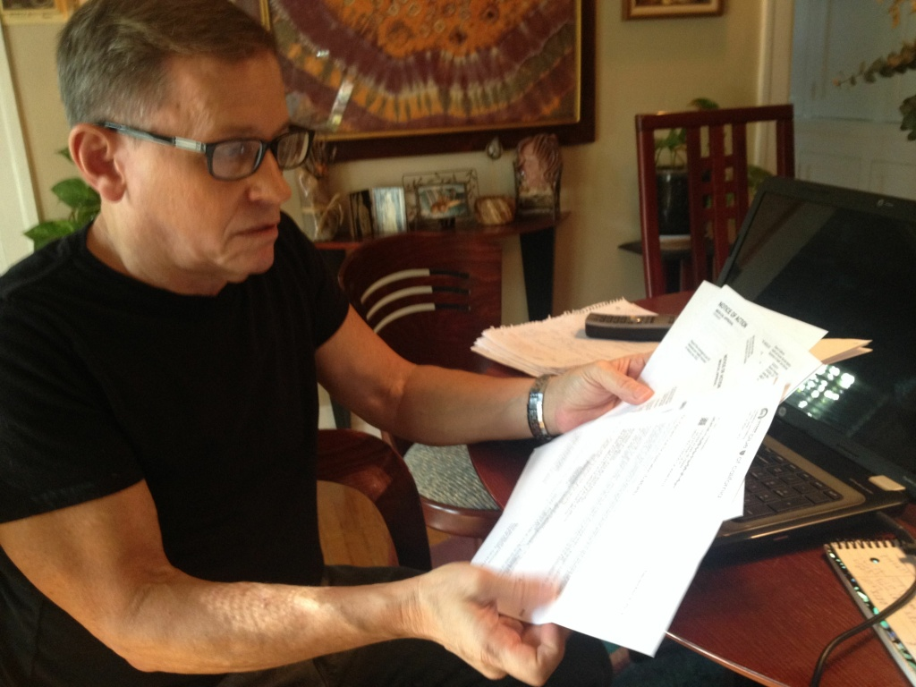 Steve Heyman, a West Hollywood health insurance broker gets notices from Covered California and from Medi-Cal that he's been enrolled in the state-federal government program. The notice was based on a clerical error that he spent weeks working to clear up.