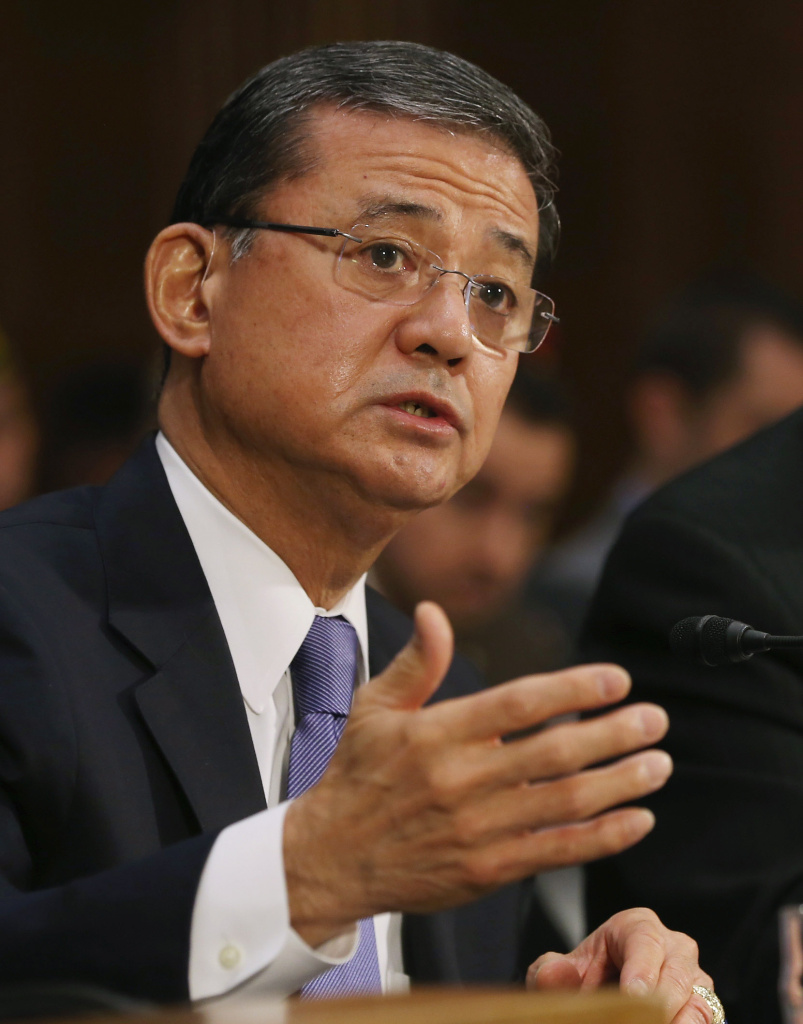 U.S. Veterans Affairs Secretary Eric Shinseki testifies during a Senate Veterans' Affairs Committee hearing that is focusing on wait times veterans face  to get medical care May 15, 2014 in Washington, DC.