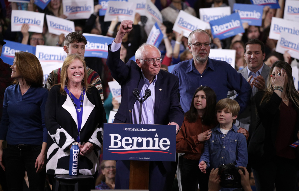 Democratic presidential candidate Sen. Bernie Sanders addresses supporters at his Super Tuesday night event on March 03, 2020 in Essex Junction, Vermont.