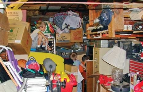 Image from UCLA's study of American homes. Only 25 percent of garages could be used to store cars because they were so packed with household overflow. Family members said they were parking their stuff while deciding what to do with it. Plans to recoup the cost of unused items by selling them on eBay or Craigslist or at a garage sale rarely materialized.