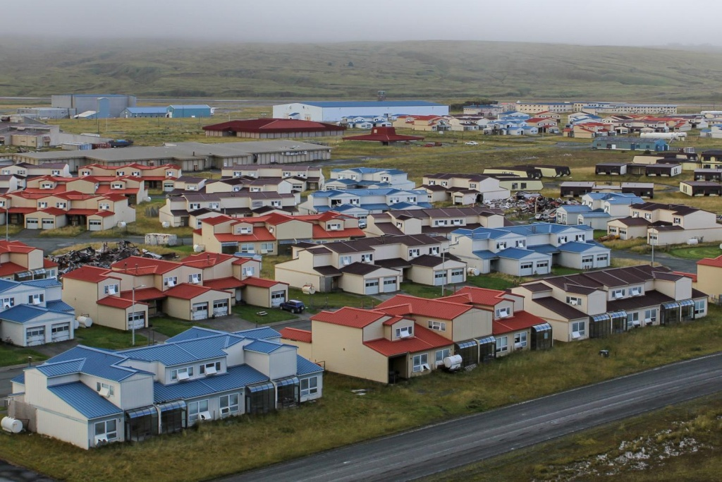 The military built dozens of pre-fabricated houses before it ended major basing operations on Adak in the 1990's. Some of the homes remain in good shape, while others have collapsed or are in disrepair.