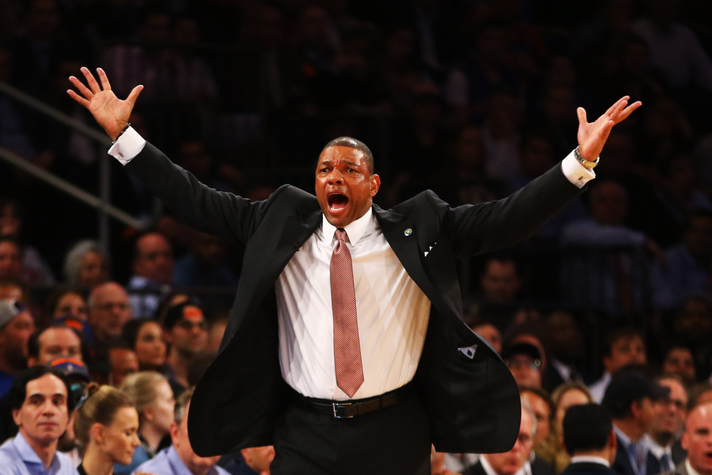 Doc Rivers of the Boston Celtics yells against the New York Knicks during Game five of the Eastern Conference Quarterfinals of the 2013 NBA Playoffs at Madison Square Garden on May 3, 2013 in New York City.
