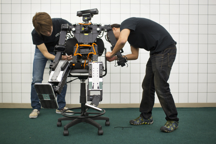 THOR stands for for Tactical Hazardous Operations Robot. The humanoid robot, which is just under five feet tall, is designed for disaster relief scenarios. A laser rangefinder at the center of THOR's chest scans and generates a three-dimensional image of what's in front of the robot.