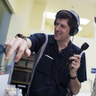 Off-Ramp Host John Rabe conquers his fear of spiders and holds a Chilean Rose-Haired Tarantula in the care and conservation area for reptiles and insects at the Los Angeles Zoo on Tuesday morning, Oct. 4, 2016. Boo at the L.A. Zoo takes place every weekend this October. The annual event includes live performances, special animal feedings, pumpkin carving and crafts.