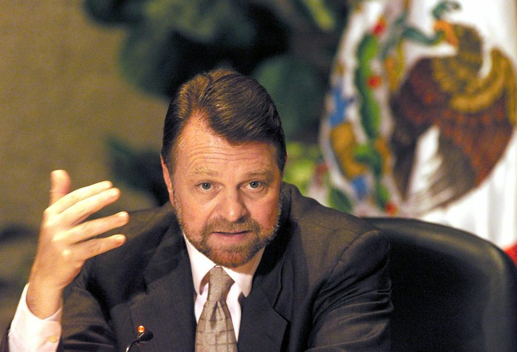Mexican Foreign Minister, Jorge Castaneda, responds to journalists in Mexico City, Mexico on October 8, 2001 after announcing the acceptance of Mexico to occupy a position in the Security Council of the United Nations. Mexico and Syria were elected as non-permanent members of the Security Council for representation of Latin America and Asia, respectively.