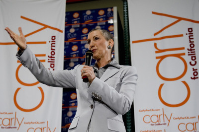 Former Hewlett-Packard chief executive officer Carly Fiorina announces to the media her candidacy for U.S. Senate at Earth Friendly Products on November 4, 2009 in Garden Grove, California.