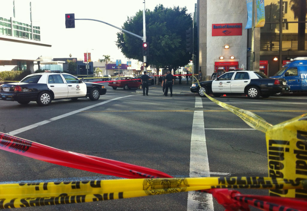The scene of the shooting near Hollywood and Vine, Dec. 9, 2011.
