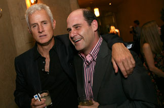Actor John Slattery (L) and producer Matthew Weiner attend the wrap party of AMC's 'Mad Men' at the Roosevelt Hotel August 24, 2007 in Hollywood, California.