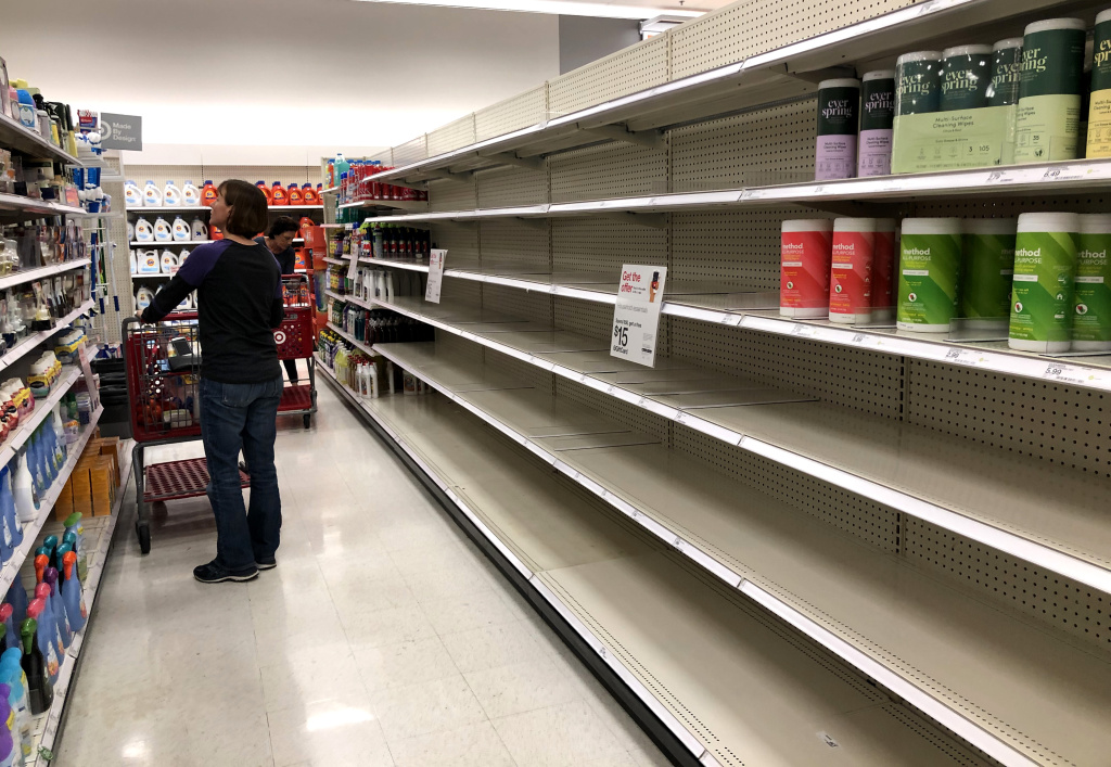 Shelves where disinfectant wipes are usually displayed is nearly empty at a Target store on March 02, 2020 in Novato, California.