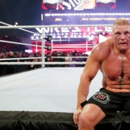 Brock Lesnar after losing his championship in the main event of Wrestlemania 31.