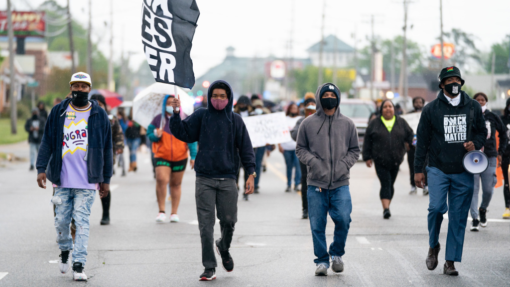 Protesters march last week in Elizabeth City, N.C., after the shooting death of Andrew Brown Jr. The local sheriff says his office plans to ask a court to approve the release of body camera footage of the shooting on Monday.