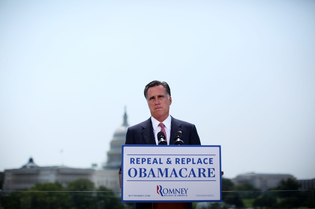 Republican U.S. Presidential candidate and former Massachusetts Governor Mitt Romney speaks in response to the U.S. Supreme Court ruling on the Affordable Healthcare Act with the U.S. Capitol in the background, June 28, 2012 in Washington, DC.