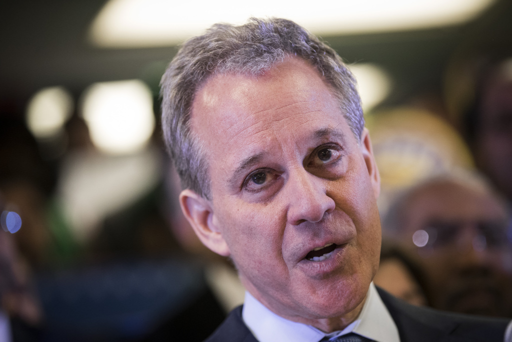 New York Attorney General Eric Schneiderman speaks at a press conference at the headquarters of District Council 37 on April 3, 2018 in New York City.