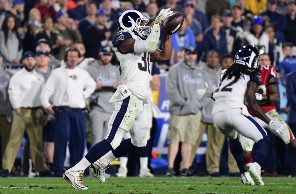 LOS ANGELES, CA - JANUARY 06:  Running back Todd Gurley #30 of the Los Angeles Rams drops a pass during the fourth quarter of the NFC Wild Card Playoff game against the Atlanta Falcons at Los Angeles Coliseum on January 6, 2018 in Los Angeles, California.  (Photo by Harry How/Getty Images)