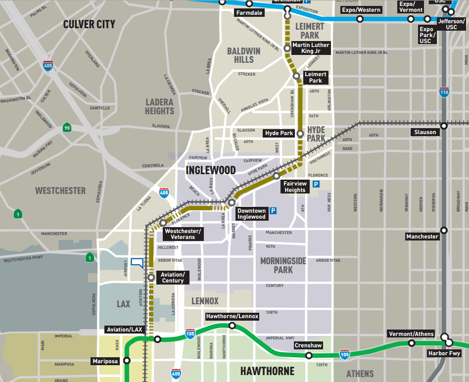 The route of the Crenshaw Line, which will open in 2019 and connect to LAX.