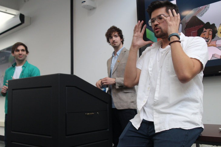 Kevin Fredrick (left), Matthew McKay and and Jeremy Griffith pitch their idea to take their sketch comedy production company into the world of virtual reality.