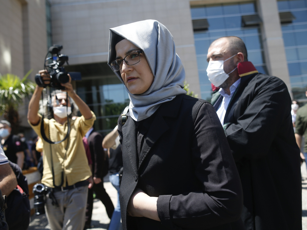 Hatice Cengiz, who was engaged to slain Saudi journalist Jamal Kashoggi, leaves a court in Istanbul on Friday. Two former aides to Saudi Crown Prince Mohammed bin Salman and 18 other Saudi nationals are on trial in absentia over the 2018 killing of the <em>Washington Post</em> columnist.
