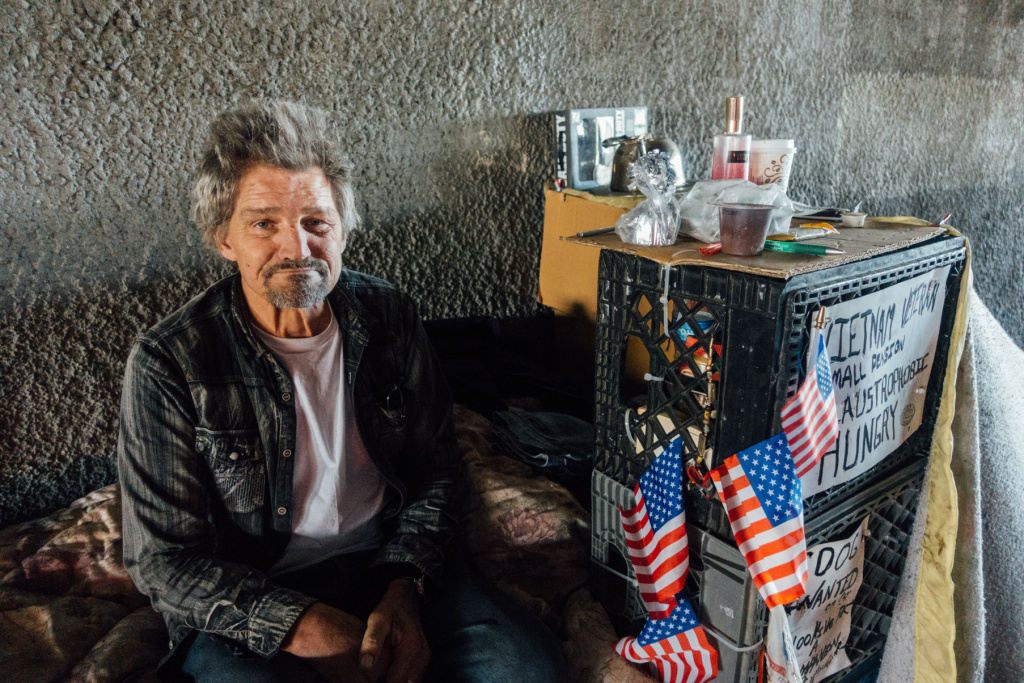 Richard Paul Ivy says he served in the Army during Vietnam. He lives under the 405 on Wilshire Boulevard, steps away from the West LA VA campus.