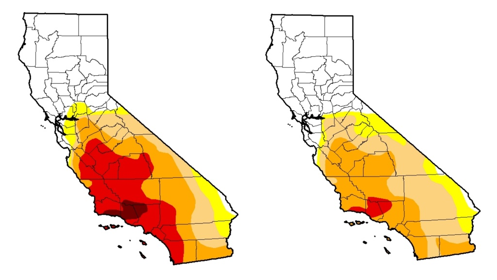 "A mashup of two maps produced by the U.S. Drought Monitor shows the change in drought conditions statewide from Jan. 17, 2017 (L) to Jan. 24, 2017 (R). Yellow indicates abnormally dry, while all other colors indicate some degree of drought, with red being ""extreme drought."" No part of the state remains in ""exceptional drought,"" the most severe category."
