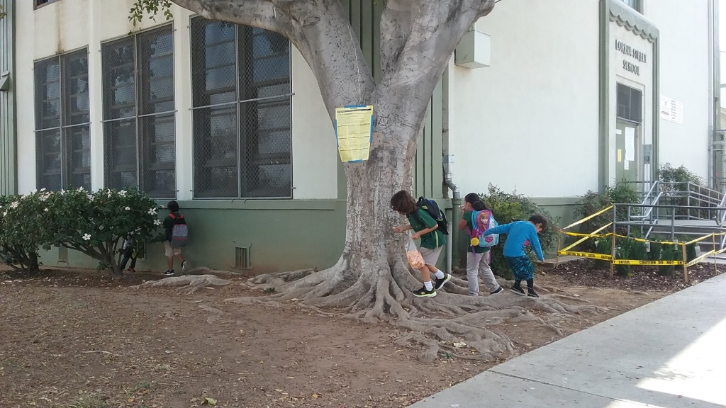 Kids play on Lorena Street Elementary School's outside lawn after school. The Boyle Heights school is one of several that tested high for lead.