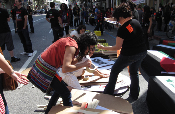 Hundreds of people converged at Hollywood Boulevard and Vine Street in Hollywood, Calif., on Saturday, March 20, 2010 to protest the wars in Iraq and Afghanistan. The protests were part of an annual event organized by Act Now to Stop War and End Racism (ANSWER).
