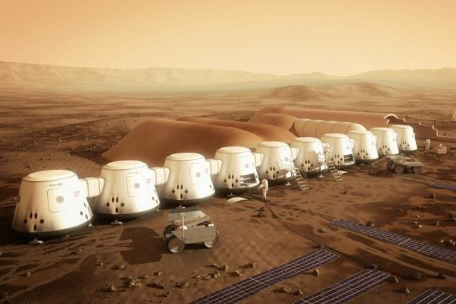 The non-profit company Mars One plans to establish the first human settlement on Mars by 2025. Pictured is an artist's rendering of a series of habitats. Solar panels (in the foreground), would supply the colony's electricity, while a system to extract water from the soil (in the background) would supply drinking water.