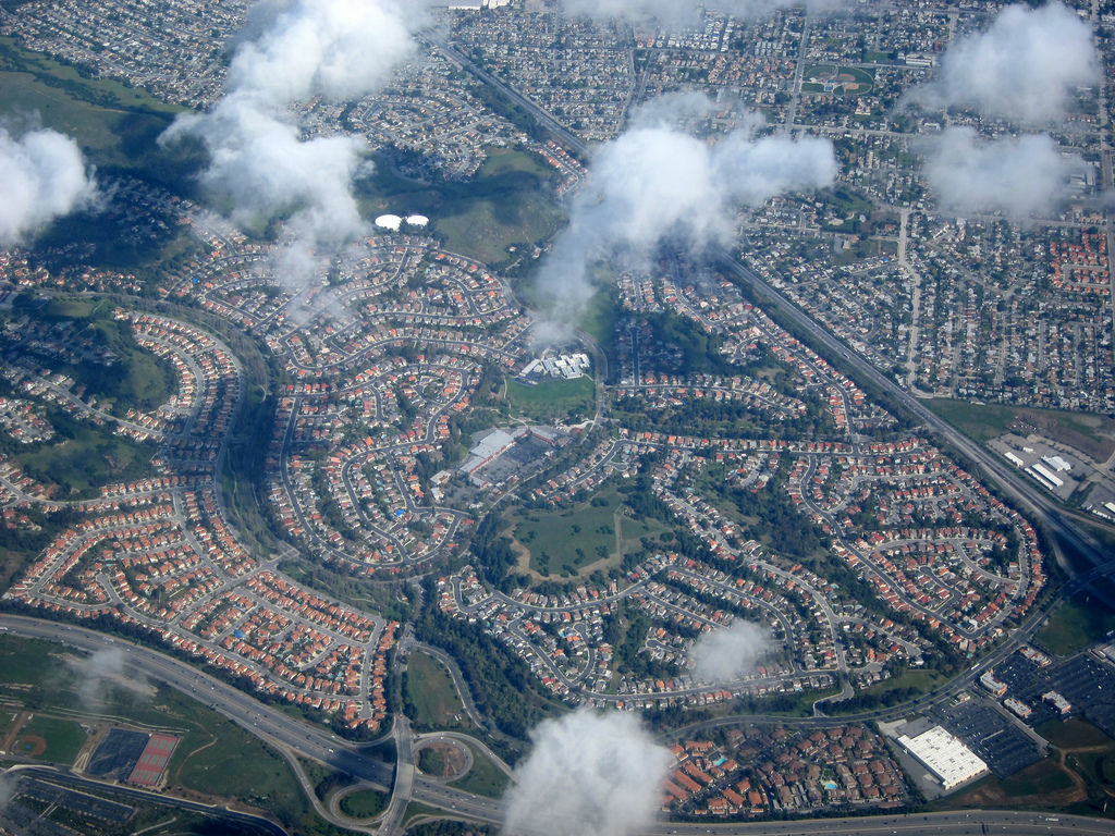 Los Angeles suburbs with cul-de-sacs surrounded by freeways.