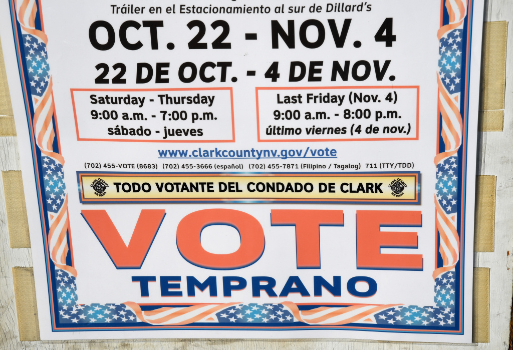 LAS VEGAS, NV - OCTOBER 26:  A sign in Spanish is posted outside an early voting site at Downtown Summerlin on October 26, 2016 in Las Vegas, Nevada. Voters in Clark County are voting early at a record pace this year ahead of the November 8 general election.