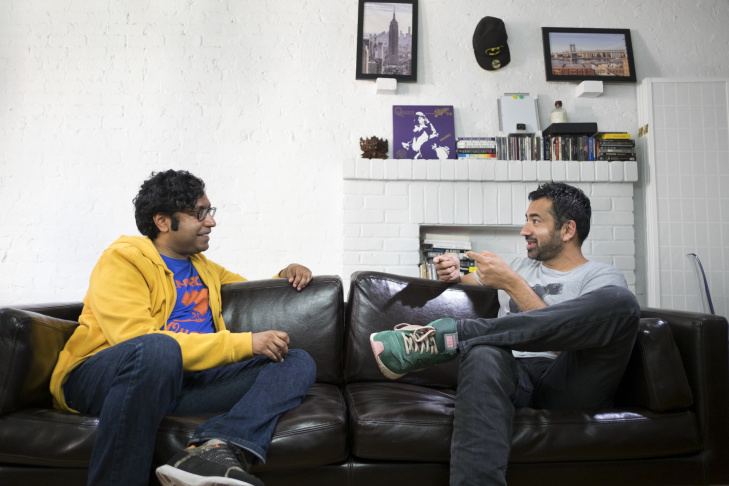 Comedian Hari Kondabolu (L) and actor Kal Penn (R) in Kondabolu's new truTV documentary